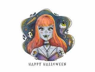 有橙色长的头发传染媒介的性感的吸血鬼妇女