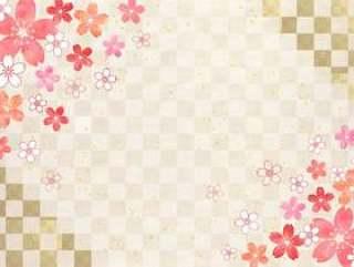 樱花柔和_格子日本纸背景1640