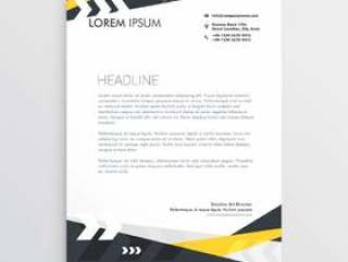 创意信头模板与黄色和黑色的几何沙