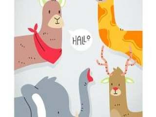 可爱的小动物动物头矢量图