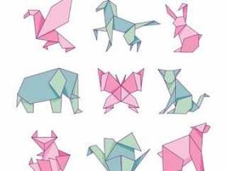 折纸动物纸套隔离在白色背景上