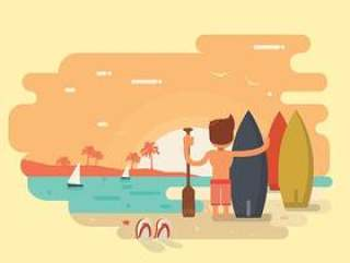 海洋冲浪者矢量