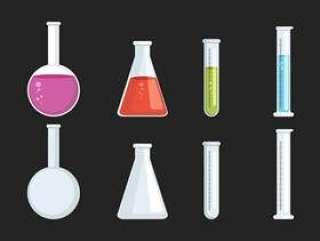 烧杯和玻璃集合矢量图