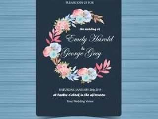 与美丽的蓝色和桃红色玫瑰的花卉婚礼邀请
