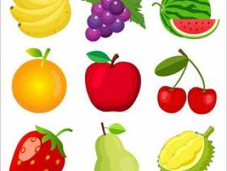 Set of fruits for children learning words and vocabulary.