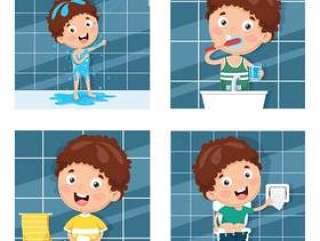 沐浴,刷牙,洗手后洗手的插图