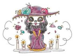 可爱的卡特里娜字符微笑与Dia De穆埃斯矢量的花卉元素