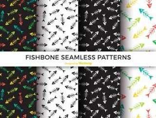 五颜六色的鱼骨无缝模式矢量包