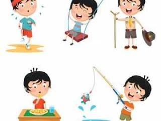 孩子每日例行活动的例证