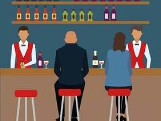 平拥挤的酒吧场景矢量图