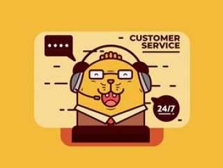 客户服务字符矢量