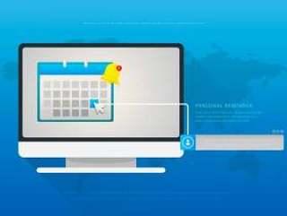 鼠标在个人提醒的插图。网站设计菜单。