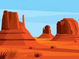 美国沙漠景观矢量