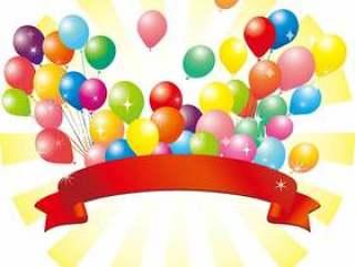 气球气球背景材料红丝带丝带装饰
