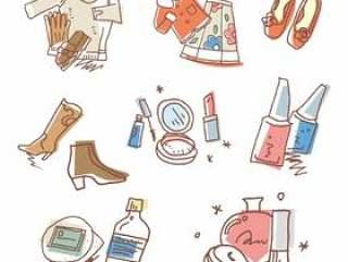 女性的衣服和化妆品的插图