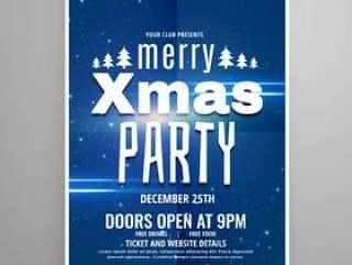 时尚蓝色圣诞快乐圣诞传单设计模板与假日