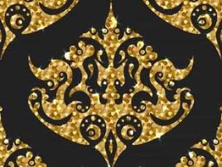 金色闪光无缝模式。矢量背景与锦缎装饰品。