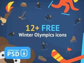 Free Set Colorful Olympic Winter Sport Icons 12+