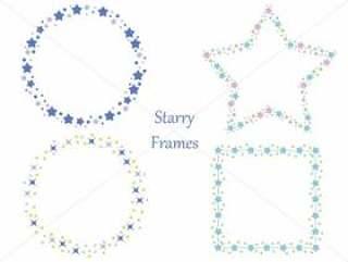 一组四个与各种星星图案相配的帧。