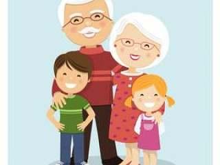 有孙的愉快的祖父母蓝色背景的