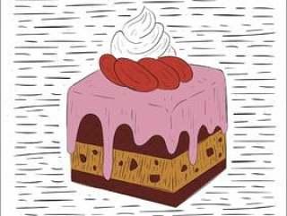 手绘矢量蛋糕插画