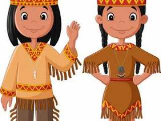 卡通情侣本机印度裔美国人