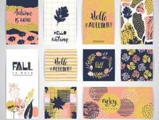 套艺术性的创造性的秋天卡片。
