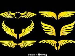 黑色矢量的天使的翅膀