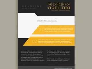 黄色和黑色的业务手册传单海报模板