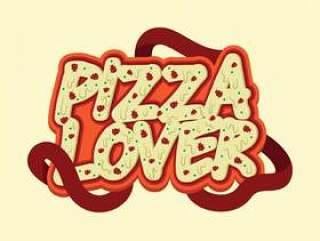 比萨饼恋人字体设计