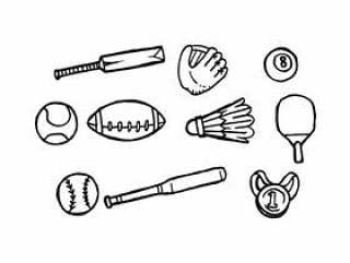 体育手绘图标矢量