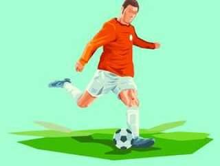 创意足球运动员踢球矢量图