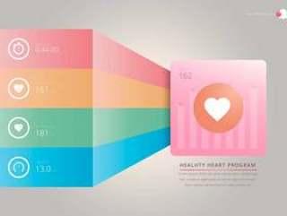 心脏节奏监视器,医疗心脏插图。心脏节奏的信息图表。