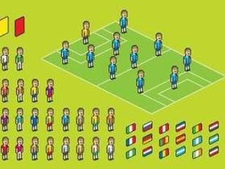 像素足球运动员矢量