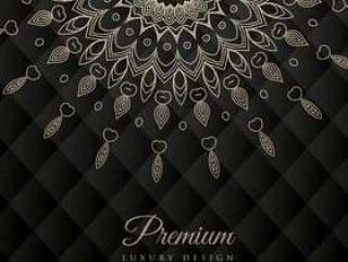 曼荼罗设计圆装饰图案在黑色背景上