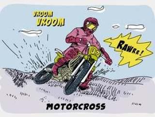 骑摩托车越野赛漫画手绘矢量图