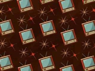 电视设备复古老式明亮的背景