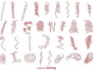 一套红色手绘漩涡和波形。向量集