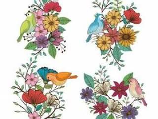 花卉装饰和鸟葡萄酒样式传染媒介例证设计