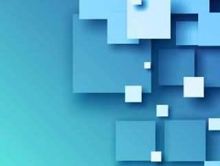 抽象的蓝色3d马赛克矢量背景