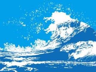 波飞沫海面サーフィン和风和柄迫力背景素材