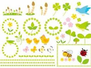 春天的各种插图