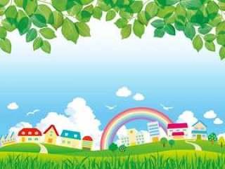 城市景观草原山新鲜的绿叶彩虹路城市街道插图图片