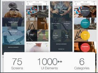75 iOS屏幕移动应用程序UI工具包,Flatte UI工具包