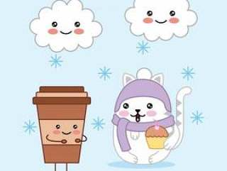 与咖啡杯和云彩魔术动画片的Kawaii逗人喜爱的猫