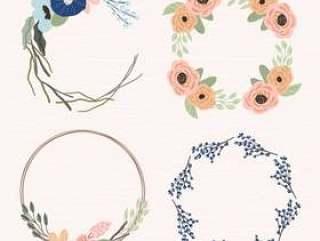 可爱的花卉框架设置4合1