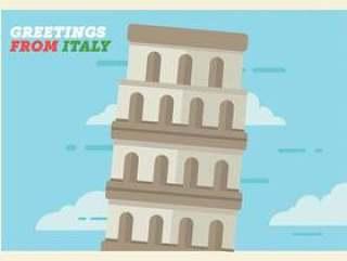 意大利明信片矢量