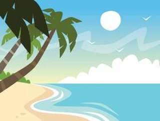 在海滩的棕榈树