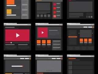 平面设计中的线框元素移动和网页布局模板