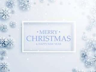 时尚快乐圣诞贺卡设计与白色的雪花